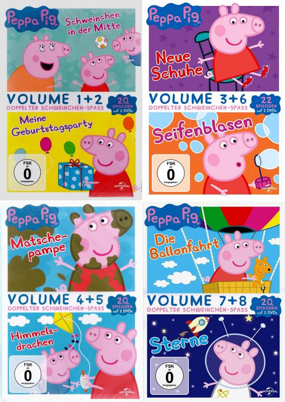 Peppa Pig - Volume (1 + 2) + (4 + 5) + (3 + 6) + (7 + 8) [82-Episoden] (8-DVD)